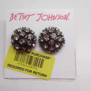 Betsey Johnson New Black Studded with Star Earring